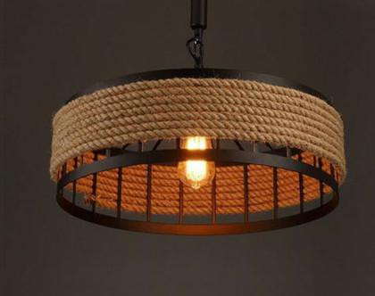 מנורה לתלייה מברזל וחבלים L4