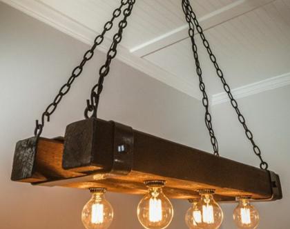 מנורת תלייה מעץ מלא וברזל 6 מנורות