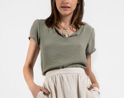 חולצת ויסקווזה סטן בצב חאקי-דגם ג'לי