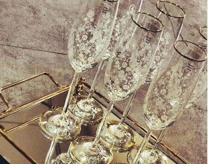 סט 6 כוסות שמפניה - דגם פיאונה