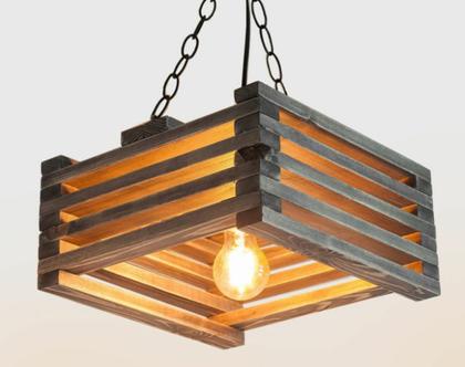 מנורת תקרה מעץ מלא