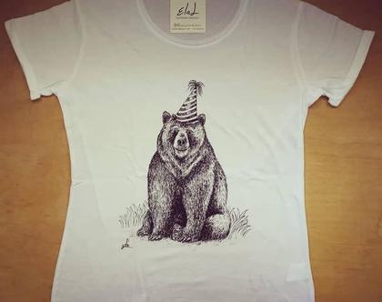 חולצה עם ציור, חולצה מאויירת, חולצה עם הדפס, חולצה מעוצבת, טי שירט - דוב יומולדת