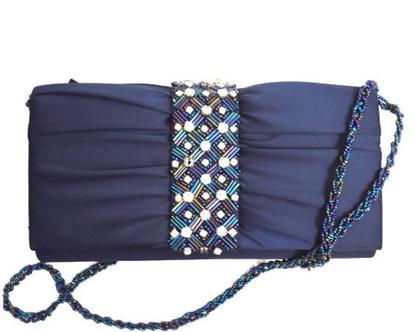 Adrianna Papell | תיק כחול סאטן אדריאנה פפל