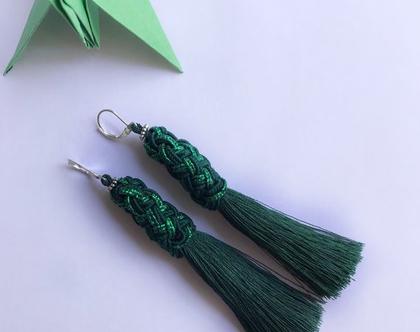 עגילים ירוקים עם גדילים
