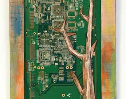 תמונה צבעונית | אסמבלאז' עץ | אומנות קיר |