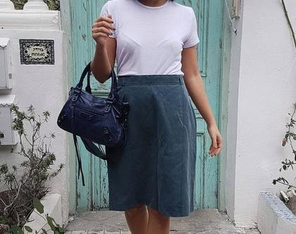חצאית עיפרון, חצאית וינטג', חצאית אפורה, חצאית קלאסית, חצאית למשרד, חצאית גבוהה, מידה L, חצאית עד הברך, חצאית אלגנטית