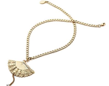 שרשרת מניפה עם פנינה - שרשרת זהב לאישה - שרשראות לנשים - שרשרת זהב
