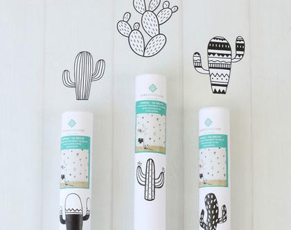 מדבקות קיר – דגם קקטוסים