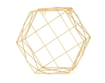 מדף נישה רשת ברזל זהב משושה משבצות