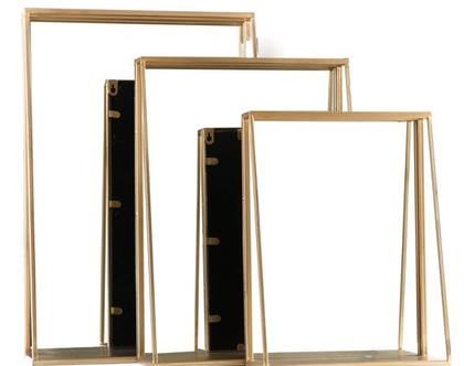 מראה צבע זהב עם מדף - שלישייה