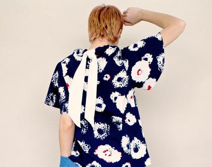 חדש! חולצת כותנה פרחונית עם שרוולי פעמון וכיווץ, קשירה לבנה בגב