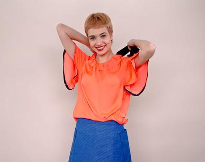 חדש! חולצת ויסקוזה ורודה עם שרוולי פעמון וכיווץ, קשירה שחורה בגב