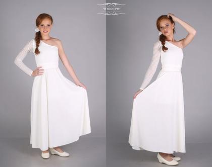 שמלת כתף ארוכה לבת מצווה של המעצבת שירן סבוראי
