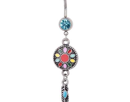 עגיל לטבור ארוך - פרחים מנדלה צבעונית עם נוצה