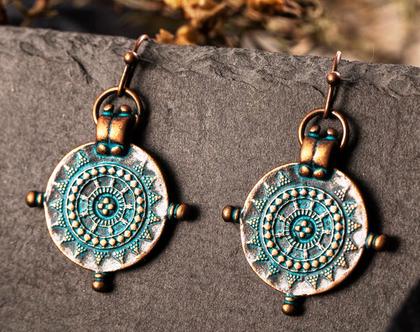 עגילים אופנתיים סגנון וינטג' - טורקיז על נחושת