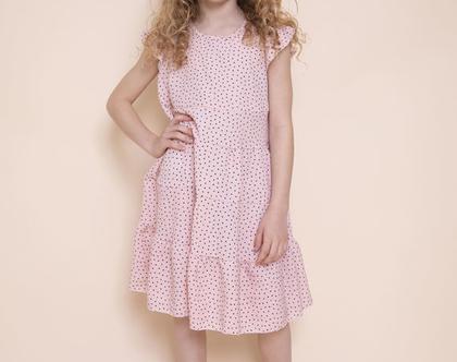 שמלת קומות ורודה עם הדפס של ריבועים לילדה , נטלי קומות ורודה .