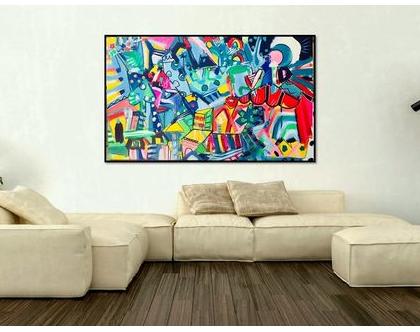 אמנות מודרנית לבית, תכשיטים לקירות של הציירת ענבר רייך, אומנות ישראלית מקורית, הדפס משודרג על בד, ציור צבעוני לסלון