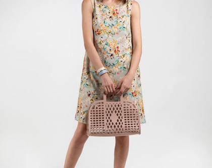 שמלה פרחונית מבד פשתן ויסקוזה-דגם מלבי