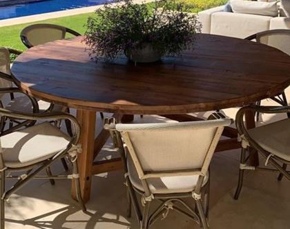 שולחן עגול 180 סמ קוטר . עץ ממוחזר
