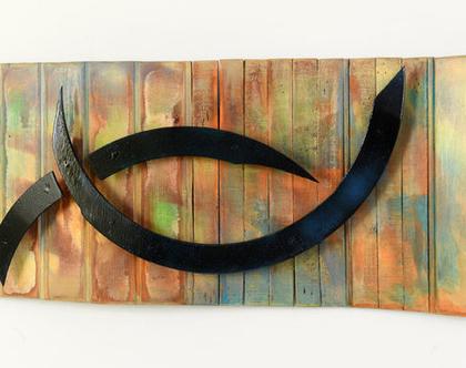 אסמבלאז' עץ   פסיפס עץ ממוחזר   פסיפס עץ   תמונה צבעונית