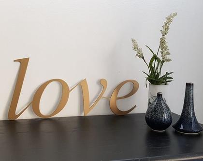 שלט Love בצבע זהב