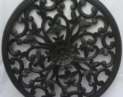 """מנדלה מעץ בצבע שחור ♥ משרביה בצבע שחור קוטר 40 ס""""מ עגולה ♥ ♥ משרבייה עץ עגולה בצבע שחור"""