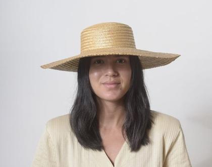 כובע קש, כובע רחב שוליים, כובע לנשים, כובע לחופשה, כובע לקיץ, כובע קש וינטג', מידה S, כובע לים