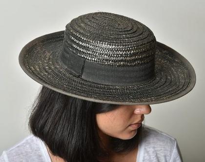 כובע קש שחור, כובע קש לנשים, כובע וינטג', כובע לקיץ, כובע מיוחד, כובע לחופשה, כובע לים, כובע ליום יום, מידה S, יוצר באיטליה