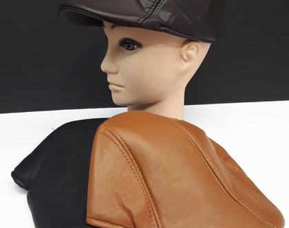 כובע ברט גבר | כובע עור לגבר | כובע לחורף | כובע אלגנט