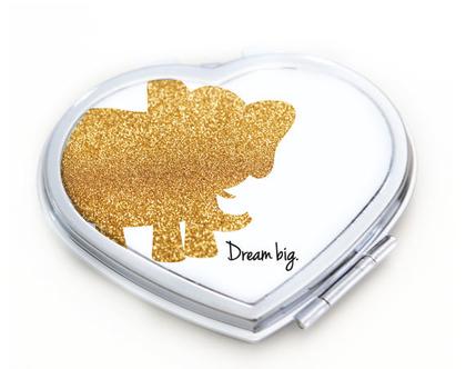 מראת כיס אישית בצורת לב עם הדפסה אישית | מראה קטנה ממותגת | מראה עם הדפסה