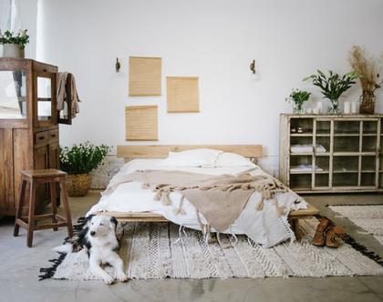 מיטה מעץ מלא | מיטת במה | מיטה מרחפת | מיטה זוגית |מיטה מעץ אלון