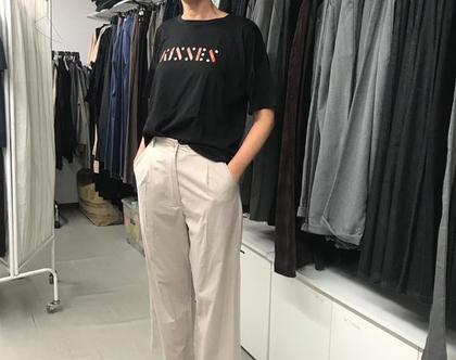 מכנסי פנסים מתרחבים בצבע מוקה בהיר, מכנסי 7/8, מכנסי כותנה לקיץ, מכנסיים יפים לקיץ, מכנסי קיץ