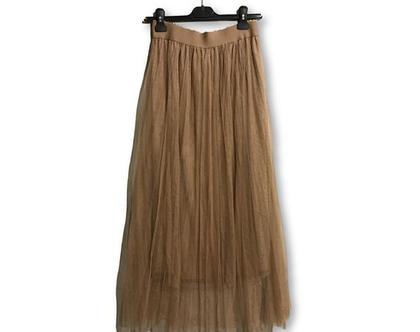חצאית מקסי מיוחדת, חצאית מעוצבת, חצאית בחום בהיר, חצאית טול מקסי