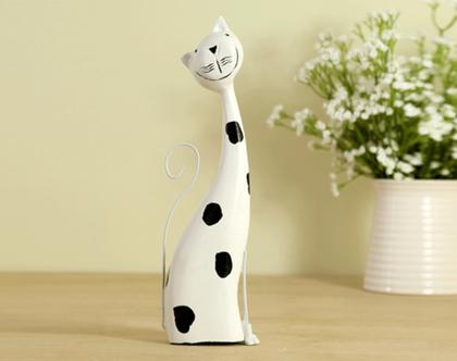 פסל עץ חתול שחור ולבן