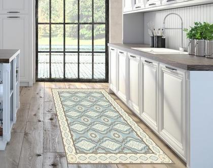 שטיח פי.וי.סי מעוצב דגם Moroccan pattern | שטיח למטבח | שטיח בעיצוב מקורי | שטיח פיויסי מעוצב לבית ולמשרד