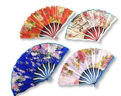 מניפה פלסטיק יפנית | מניפת פרחים מיוחדת | מניפה קימונו
