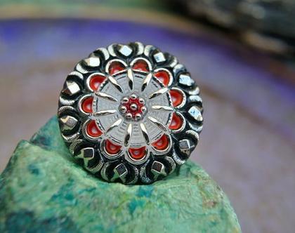 """כפתור פרח זכוכית צבעוני, כפתור עבודת יד וצביעת יד בגודל 27 מ""""מ, לבגדים ותכשיטים"""