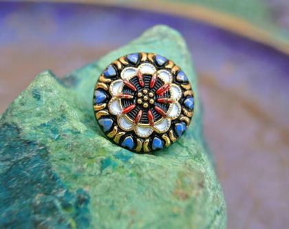"""שני כפתורי זכוכית צבעוניים, כפתורים אומנותיים עבודת יד וצביעת יד בגודל 18 מ""""מ תוצרת צ'כיה"""