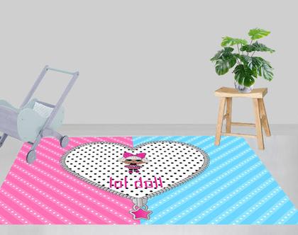 שטיח פי.וי.סי - LOL DOLL | שטיח לחדר של ילדה | שטיח ורוד | שטיחי פי.וי.סי מעוצבים| שטיחים לבית|שטיח ורוד ותכלת