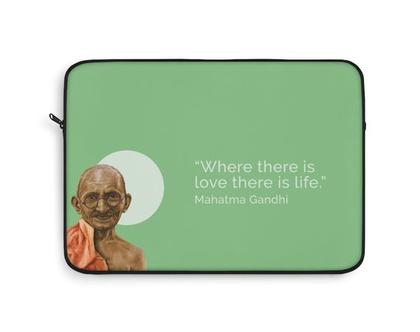 גנדי, קייס ללפטו, הדפס ציור, תיק לפטופ, מהטמה גנדי