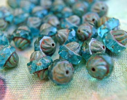 """חרוזי זכוכית כחול שקוף עם אפור אטום, פס כחול באמצע גודל 11מ""""מ, 10 חרוזים"""