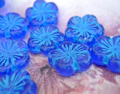 """חרוזי פרחים, חרוזי זכוכית, חרוזים צ'כים בעיצוב פרח גודל 21 מ""""מ, 4 חרוזים להכנת תכשיטים ויצירה"""
