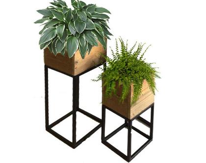 סט מעמדי עציצים Home Styling| סט מעמדי עציצים עץ בשילוב ברזל בצבע שחור | סט מעמדי עציצים מעוצבים