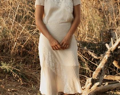 שמלה שמנת, שמלת וינטג', שמלה לבנה, שמלה שרוול קצר, שמלה לערב, שמלה שקופה, שמלה עם תחרה, שמלה עד מתחת לברך, מידה S, שמלה לאירוע