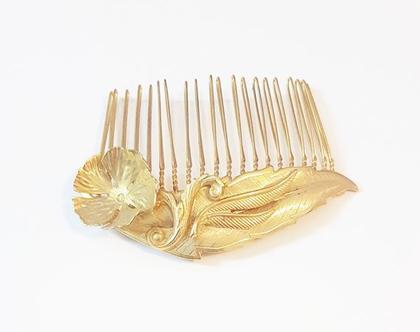 מסרקית עלים ופנינים לעיצוב שיער | לתסרוקת | לשיער | ציפוי זהב | לאירוע | עיצוב שיער | לשיער | קשת | קשתות | קשת זהב | לכלות | לאירועים