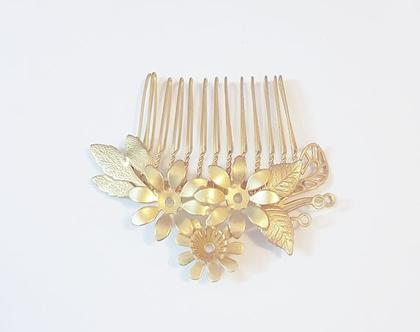 מסרקית עלים ופרחים לעיצוב שיער | לתסרוקת | לשיער | ציפוי זהב | לאירוע | עיצוב שיער | לשיער | קשת | קשתות | קשת זהב | לכלות | לאירועים