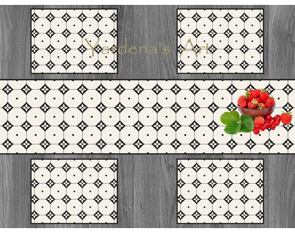 ראנר PVC מעוצב לשולחן -Nordic minimalist design| ראנר פי.וי.סי בצבע שחור ולבן | ראנר מבודד חום | עיצוב נורדי | ראנר לשולחן האוכל