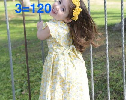 שמלת פרחונית לילדה   שמלה מסתובבת לילדה   שמלה בגווני צהוב חרדל וירוק לילדה