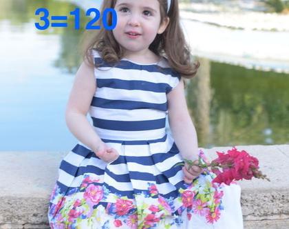 שמלת פסים לילדה   שמלה מסתובבת לילדה   שמלת כחול לבן ופרחים   שמלה 100% כותנה לילדה