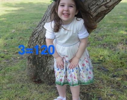 שמלה פרחונית לילדה   שמלה מסתובבת לילדה   שמלת פרחים שרוול קצר רקע לבן לילדה